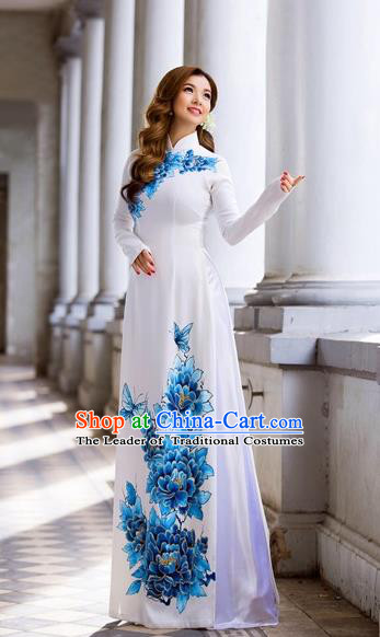 Traditional Top Grade Asian Vietnamese Costumes Classical Hand Printing Blue Flowers Dowager Full Dress, Vietnam National Ao Dai Dress Bride White Qipao for Women
