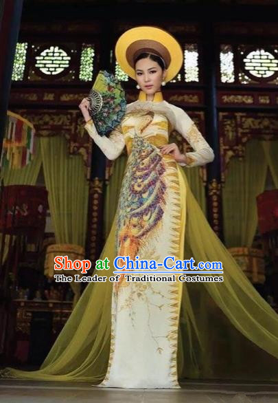 Traditional Top Grade Asian Vietnamese Costumes Classical Printing Peacock Full Dress, Vietnam National Ao Dai Dress Catwalks Princess Ginger Qipao for Women
