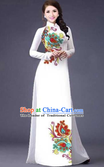 Traditional Top Grade Asian Vietnamese Costumes Classical Printing Flowers Pattern Full Dress, Vietnam National Ao Dai Dress Catwalks White Qipao for Women