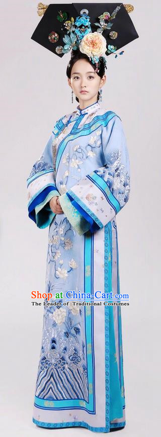 Traditional Chinese Ancient Qing Dynasty Imperial Princess Costume and Headpiece Complete Set, Above The Clouds Chinese Mandarin Robes Manchu Nobility Embroidered Clothing for Women
