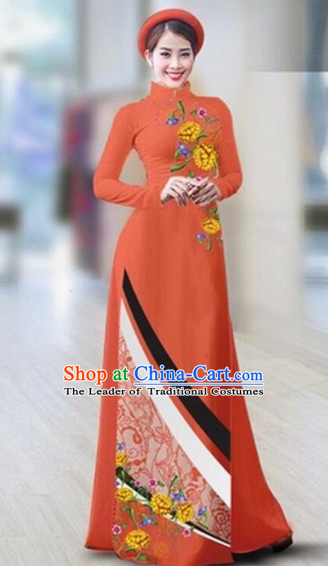 Traditional Top Grade Asian Vietnamese Costumes Classical Printing Full Dress Dance Cothing, Vietnam National Ao Dai Dress Catwalks Debutante Orange Qipao for Women