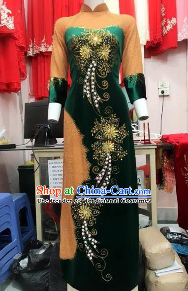 Traditional Top Grade Asian Vietnamese Costumes Classical Manual Embroider Full Dress, Vietnam National Ao Dai Dress Catwalks Debutante Atrovirens Pleuche Qipao for Women