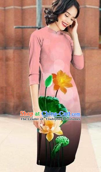 Traditional Top Grade Asian Vietnamese Costumes Classical Printing Lotus Cheongsam, Vietnam National Pink Short Ao Dai Dress for Women
