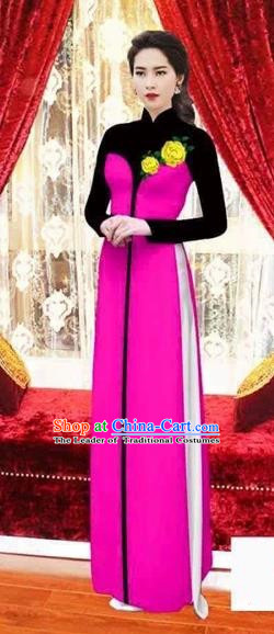 Traditional Top Grade Asian Vietnamese Costumes Classical Wedding Bride Toast Cheongsam, Vietnam National Princess Matching Rosy Printing Ao Dai Dress for Women