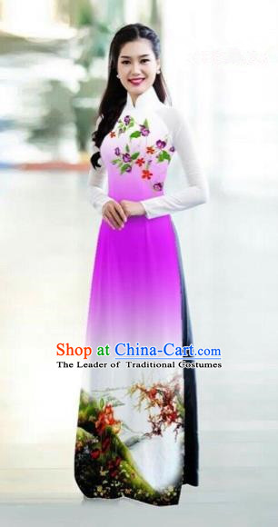Traditional Top Grade Asian Vietnamese Costumes Classical Printing Bride Toast Cheongsam, Vietnam National Princess Rosy Ao Dai Dress for Women