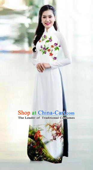 Traditional Top Grade Asian Vietnamese Costumes Classical Printing Bride Toast Cheongsam, Vietnam National Princess White Ao Dai Dress for Women