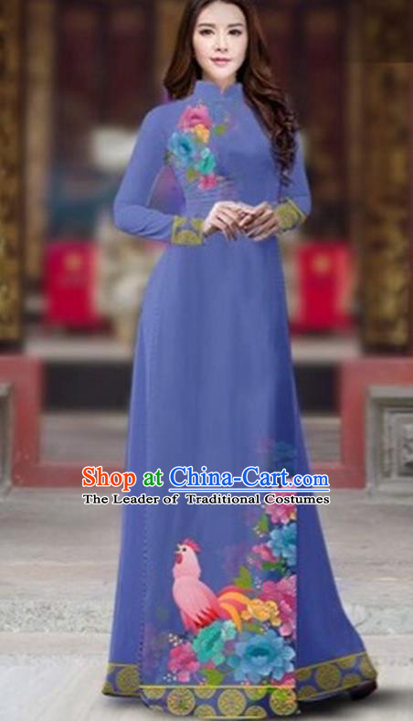 Traditional Top Grade Asian Vietnamese Costumes Classical Rooster Year Cheongsam, Vietnam National Ao Dai Dress Princess Dusty Blue Full Dress for Women