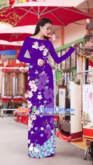 Traditional Top Grade Asian Vietnamese Costumes Classical Princess Printing Cheongsam, Vietnam National Bride Purple Ao Dai Dress for Women