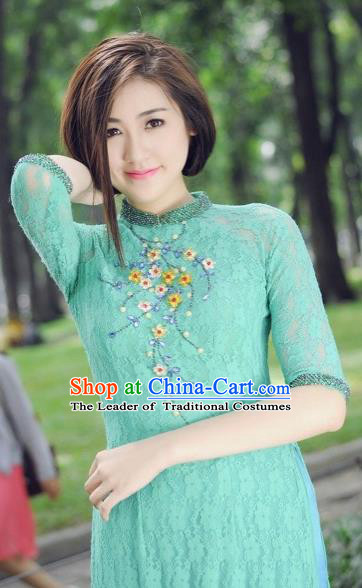 Traditional Top Grade Asian Vietnamese Costumes Classical Lace Hollow Out Cheongsam, Vietnam National Vietnamese Bride Ao Dai Dress for Women