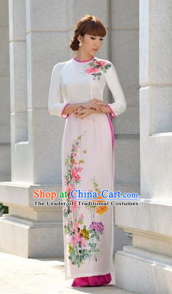 Traditional Top Grade Asian Vietnamese Costumes Classical Printing White Cheongsam, Vietnam National Vietnamese Bride Ao Dai Dress for Women