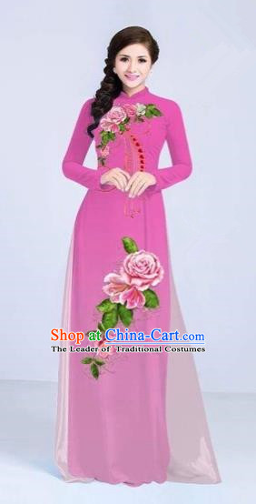 Traditional Top Grade Asian Vietnamese Costumes Classical Printing Flowers Cheongsam Dance Clothing, Vietnam National Vietnamese Bride Pink Ao Dai Dress for Women