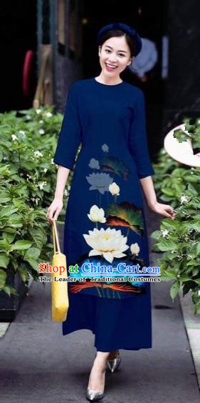 Traditional Top Grade Asian Vietnamese Costumes Classical 3D Printing Flowers Cheongsam Dance Clothing, Vietnam National Vietnamese Navy Ao Dai Dress for Women