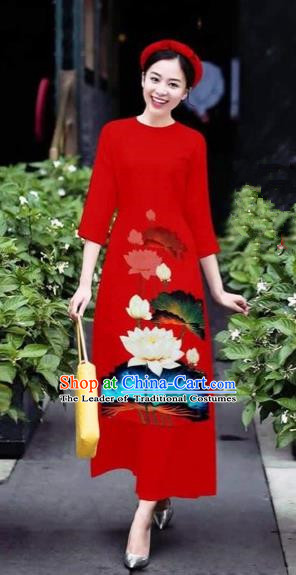 Traditional Top Grade Asian Vietnamese Costumes Classical 3D Printing Flowers Cheongsam Dance Clothing, Vietnam National Vietnamese Red Ao Dai Dress for Women