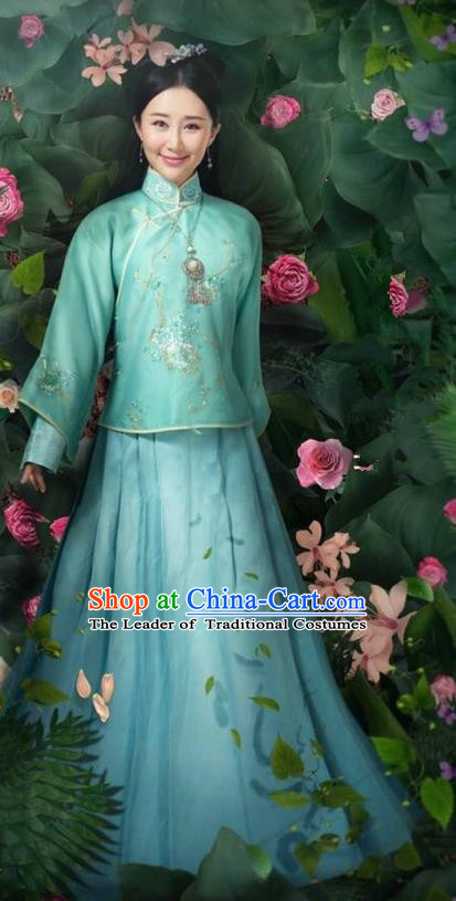 Traditional Ancient Chinese Qing Dynasty Young Lady Costume, Chinese Manchu Mandarin Palace Princess Clothing and Handmade Headpiece Complete Set for Women