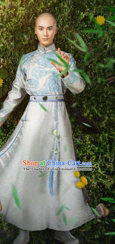 Traditional Ancient Chinese Qing Dynasty Swordsman Costume, Chinese Manchu Mandarin Nobility Childe Robes Thronfolger Clothing for Men