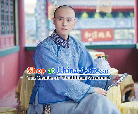 Traditional Ancient Chinese Qing Dynasty Imperial Emperor in Plain Costume, Chinese Manchu Mandarin Nobility Childe Robes Clothing for Men