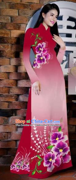 Traditional Top Grade Asian Vietnamese Costumes Classical Painting Flowers Wine Red Cheongsam, Vietnam National Vietnamese Young Lady Bride Wedding Ao Dai Dress