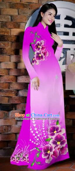 Traditional Top Grade Asian Vietnamese Costumes Classical Painting Flowers Rosy Cheongsam, Vietnam National Vietnamese Young Lady Bride Wedding Ao Dai Dress