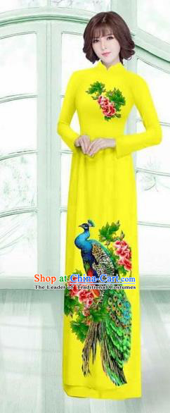 Traditional Top Grade Asian Vietnamese Costumes Classical Printing Peacock Cheongsam, Vietnam National Vietnamese Young Lady Yellow Ao Dai Dress