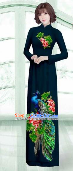 Traditional Top Grade Asian Vietnamese Costumes Classical Printing Peacock Cheongsam, Vietnam National Vietnamese Young Lady Navy Ao Dai Dress