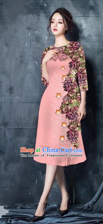 Traditional Top Grade Asian Vietnamese Costumes Classical Printing Pink Cheongsam, Vietnam National Vietnamese Bride Ao Dai Dress for Women