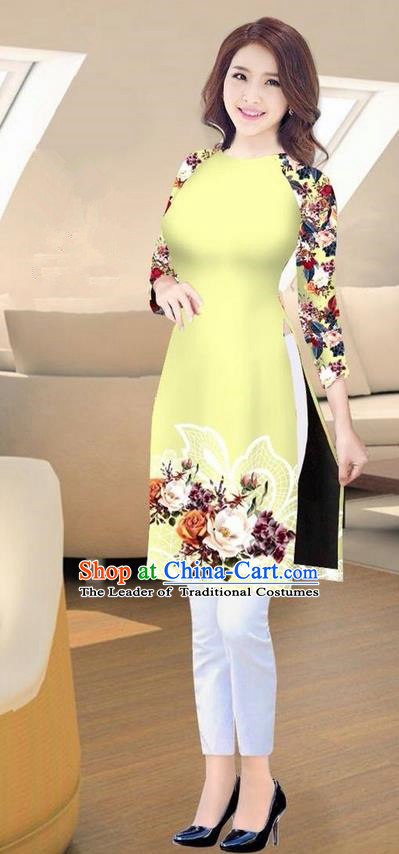 Traditional Top Grade Asian Vietnamese Costumes Classical Printing Yellow Short Cheongsam, Vietnam National Vietnamese Ao Dai Dress for Women
