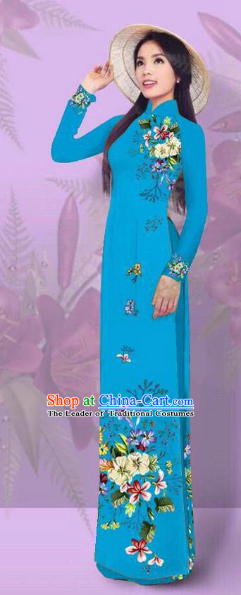 Top Grade Asian Vietnamese Costumes Classical Jing Nationality Printing Blue Cheongsam, Vietnam National Vietnamese Traditional Princess Ao Dai Dress for Women