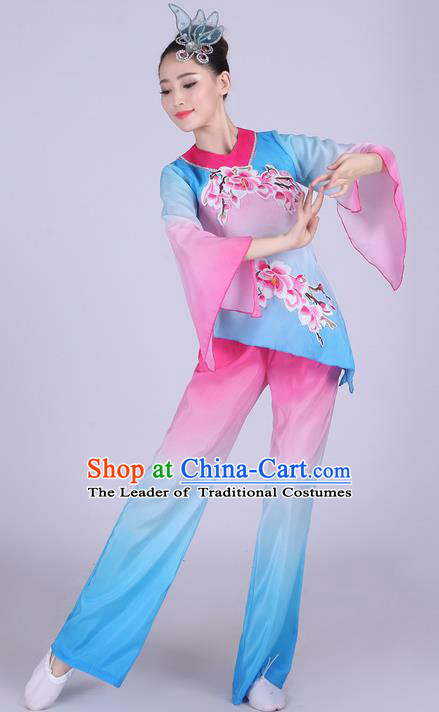 Traditional Chinese Classical Dance Yangge Fan Dancing Costume, Folk Dance Drum Dance Uniform Yangko Peach Blossom Clothing for Women