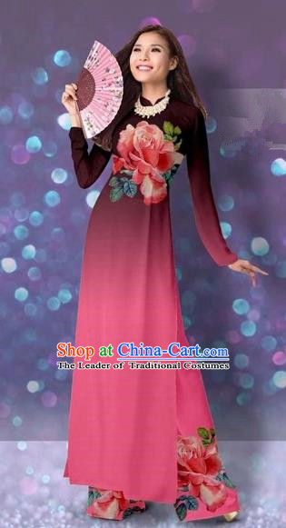 Traditional Top Grade Asian Vietnamese Costumes Classical Printing Cheongsam, Vietnam National Vietnamese Princess Pink Ao Dai Dress Dance Clothing