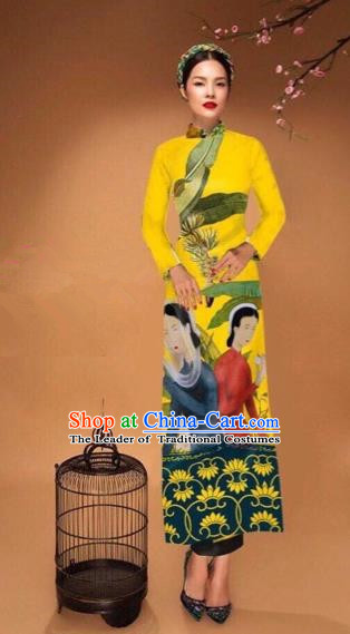 Traditional Top Grade Asian Vietnamese Costumes Classical Printing Cheongsam, Vietnam National Vietnamese Bride Yellow Ao Dai Dress Tang Suit Clothing
