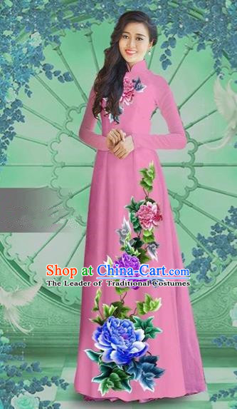 Traditional Top Grade Asian Vietnamese Costumes Classical Printing Pink Chiffon Cheongsam, Vietnam National Vietnamese Bride Ao Dai Dress
