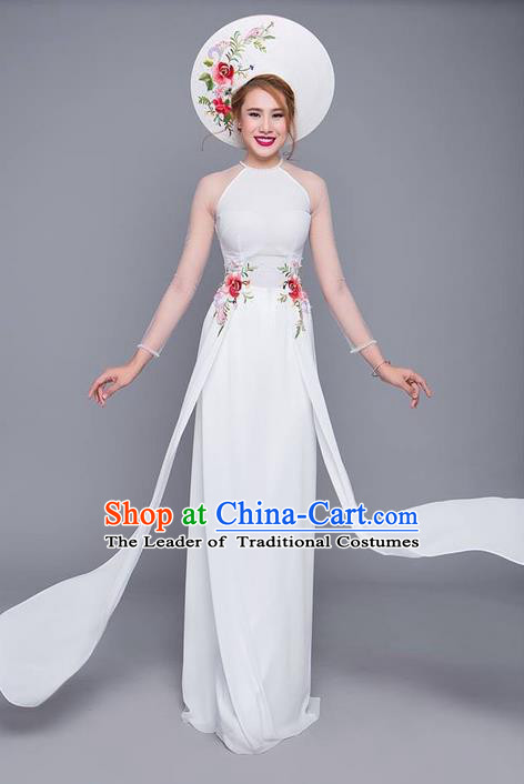 Traditional Top Grade Asian Vietnamese Costumes Classical Printing Cheongsam White Wedding Dress, Vietnam National Vietnamese Bride Ao Dai Dress
