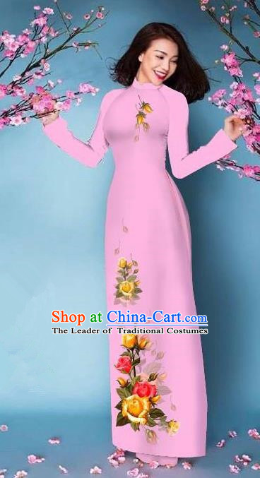 Top Grade Asian Vietnamese Costumes Classical Jing Nationality Printing Handmade Pink Cheongsam, Vietnam National Vietnamese Bride Traditional Princess Ao Dai Dress