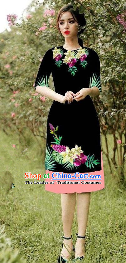 Top Grade Asian Vietnamese Costumes Classical Jing Nationality Short Cheongsam, Vietnam National Vietnamese Bride Traditional Princess Black Ao Dai Dress