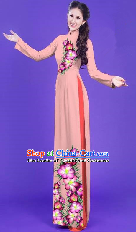 Top Grade Asian Vietnamese Costumes Classical Jing Nationality Long Printing Flowers Cheongsam, Vietnam National Vietnamese Bride Traditional Princess Pink Ao Dai Dress