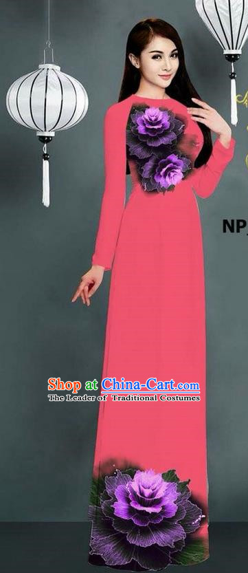 Top Grade Asian Vietnamese Costumes Classical Jing Nationality Printing Long Cheongsam, Vietnam National Clothing Bride Traditional Pink Ao Dai Dress