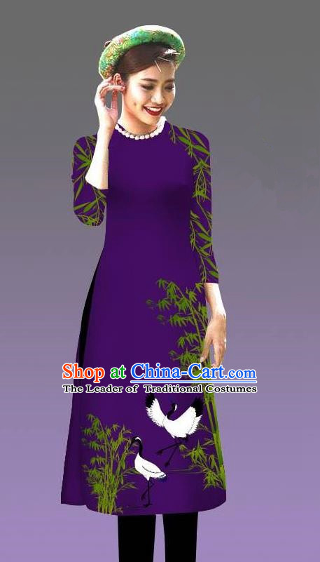 Top Grade Asian Vietnamese Costumes Classical Jing Nationality Crane Pattern Short Cheongsam, Vietnam National Clothing Bride Traditional Deep Purple Ao Dai Dress