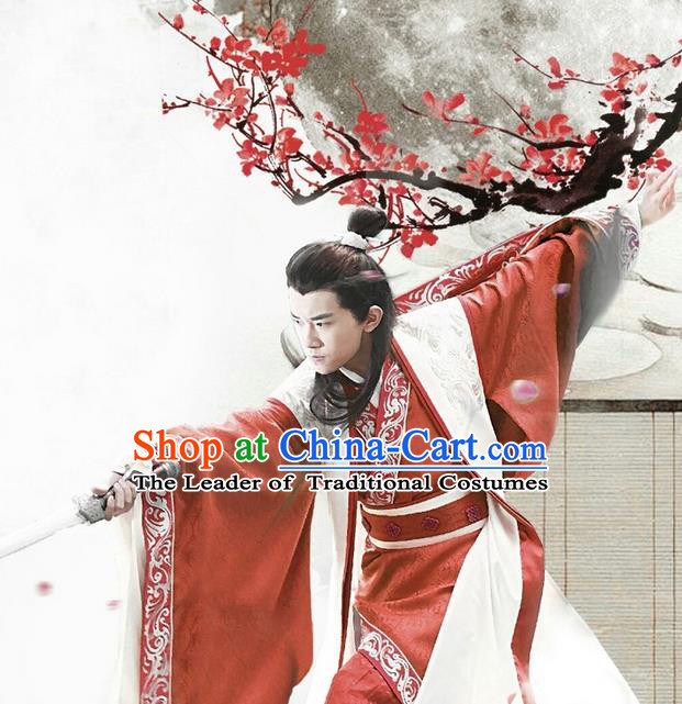 Traditional Chinese Ancient Warring States Time Young Justice Costume, Song of Phoenix Young Swordsman Hanfu Clothing and Handmade Headpiece Complete Set for Men