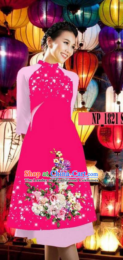 Top Grade Asian Vietnamese Costumes Classical Jing Nationality Pink Cheongsam, Vietnam National Clothing Vietnamese Bride Traditional Printing Ao Dai Dress