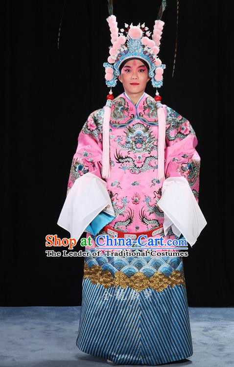 Traditional Chinese Beijing Opera Male Pink Clothing and Belts Complete Set, China Peking Opera His Royal Highness Costume Embroidered Robe Dragon robe Opera Costumes