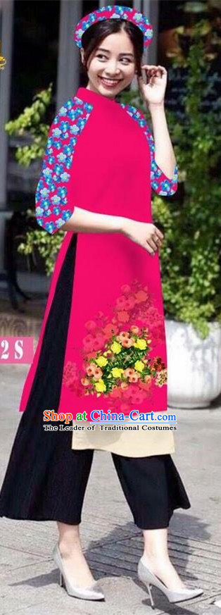 Traditional Top Grade Asian Vietnamese Jing Nationality Classical Ao Dai Dress, Vietnam National Bride Printing Rosy Short Cheongsam Costumes for Women