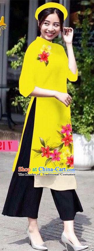 Traditional Top Grade Asian Vietnamese Jing Nationality Ha Festival Ao Dai Dress, Vietnam National Bride Printing Yellow Short Cheongsam Costumes for Women
