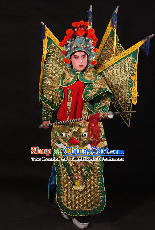 Traditional Chinese Beijing Opera Military Officer Armour Green Clothing and Boots Complete Set, China Peking Opera Martial General Role Costume Embroidered Opera Tiger Head Costumes