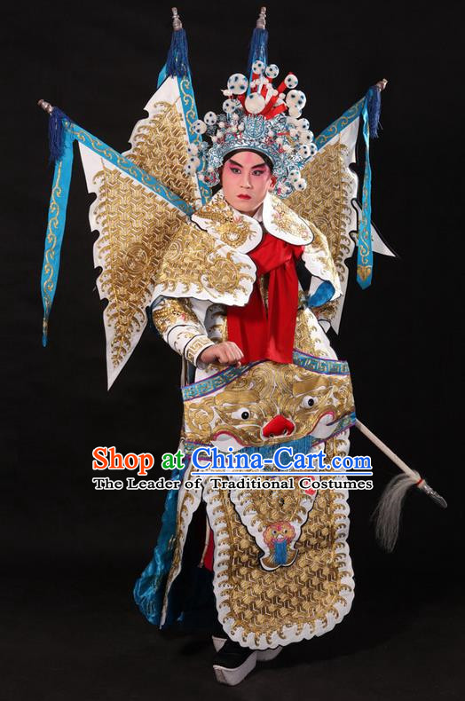 Traditional Chinese Beijing Opera Military Officer Armour White Clothing and Boots Complete Set, China Peking Opera Martial General Role Costume Embroidered Opera Tiger Head Costumes