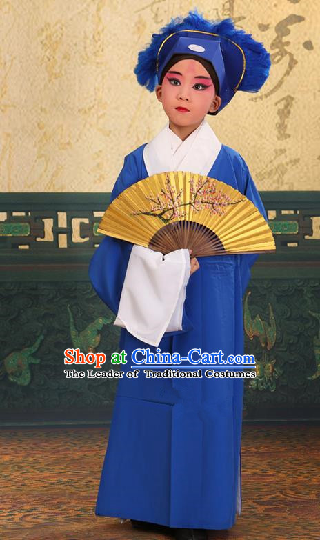 Traditional Chinese Beijing Opera Children Scholar Deep Blue Clothing and Headwear Shoes Complete Set, China Peking Opera Young Man Costume Xu Xian Robe Opera Costumes for Kids