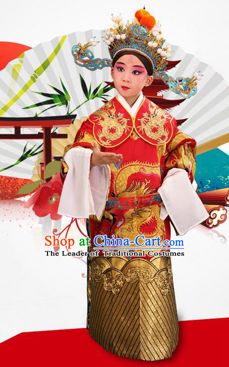 Traditional Chinese Beijing Opera Male Red Clothing and Headwear Boots Complete Set, China Peking Opera Emperor Costume Embroidered Dragon Robe Opera Costumes for Kids