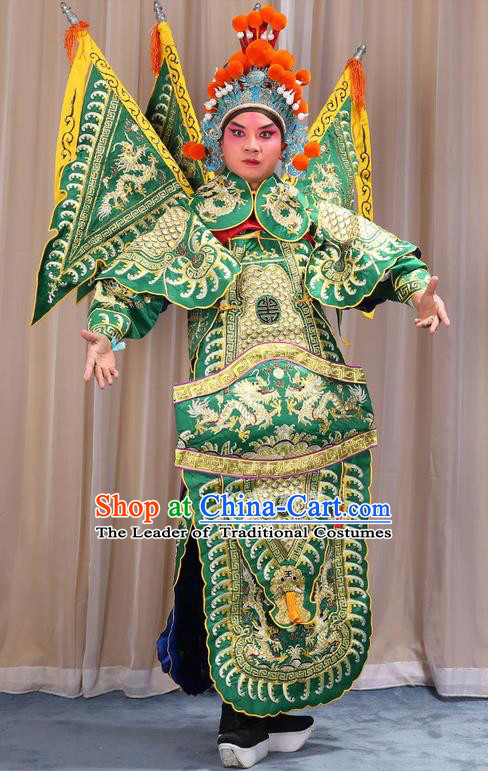 Traditional Chinese Beijing Opera Takefu Green Armour Green Clothing and Boots Complete Set, China Peking Opera Martial General Role Costume Embroidered Opera Costumes