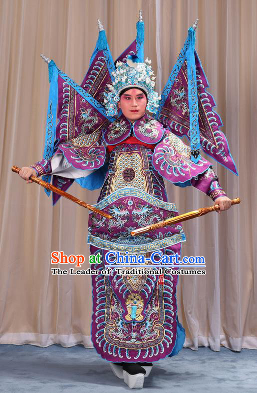 Traditional Chinese Beijing Opera Takefu Green Armour Purple Clothing and Boots Complete Set, China Peking Opera Martial General Role Costume Embroidered Opera Costumes