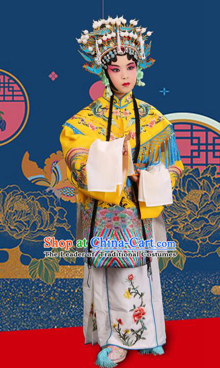 Traditional Chinese Beijing Opera Imperial Empress Clothing and Phoenix Headwear Shoes Complete Set, China Peking Opera Imperial Consort Costume Embroidered Opera Costumes for Kids