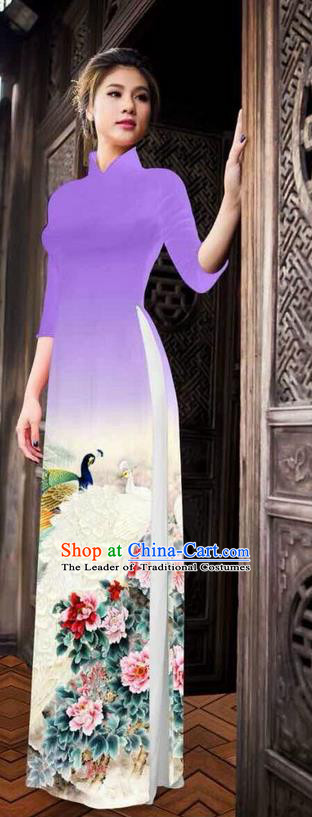 Traditional Top Grade Asian Vietnamese Ha Festival Printing Peony Light Purple Ao Dai Dress, Vietnam National Jing Nationality Princess Cheongsam Costumes for Women